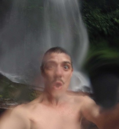Martin Holland fresh from playing in a waterfall in Java